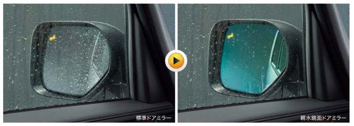親水鏡面ドアミラー(後側方車両検知警報システム付)