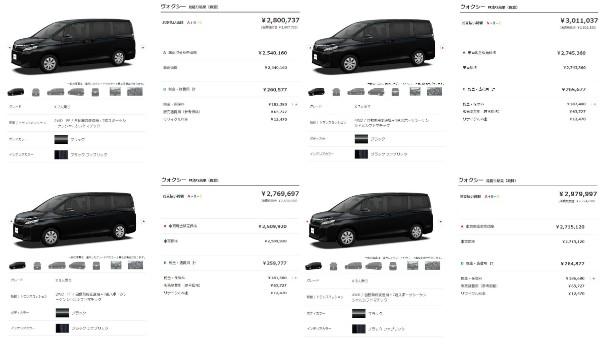 ヴォクシーの車両価格