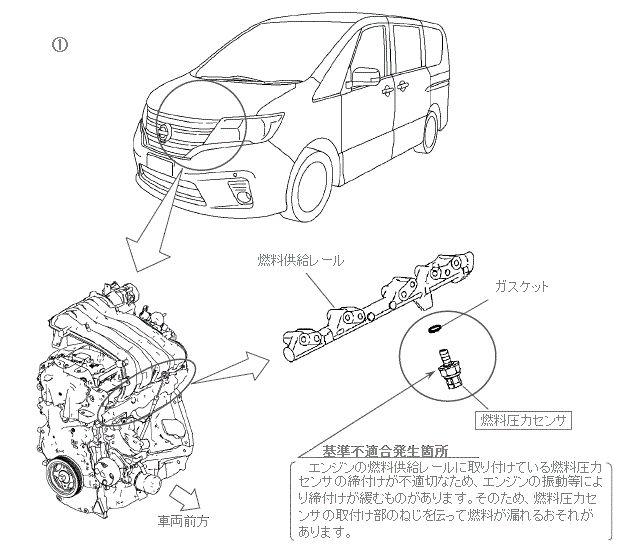 燃料圧力センサの取付け部のねじを伝って燃料が漏れるおそれがある不具合発生箇所
