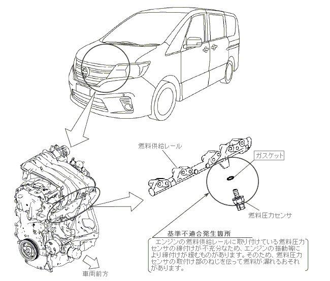 燃料圧力センサの締付けが不充分の不具合発生箇所