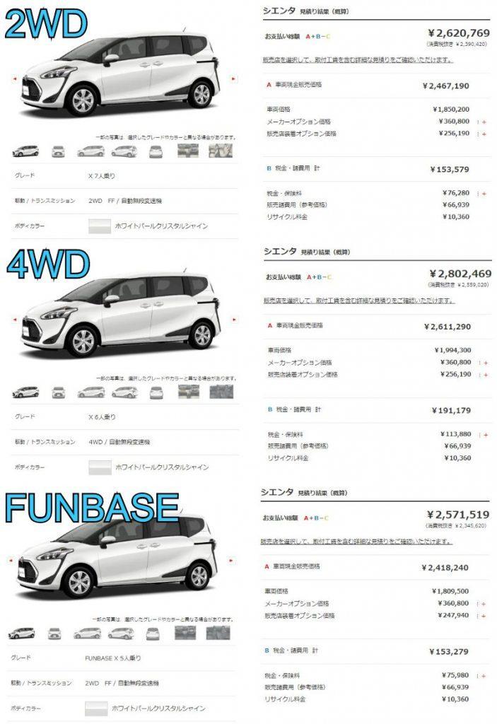新型シエンタ(ガソリン車)Xの乗出し価格